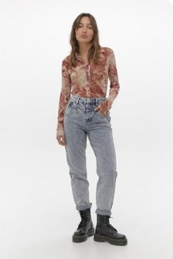 Acid Wash Blue Seamed Mom Jean - Blue 34W 32L at Urban Outfitters