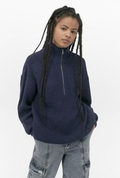 UO Fisherman Half-Zip Sweater - Blue S at Urban Outfitters