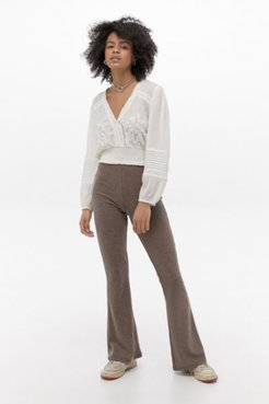 UO Cozy Chocolate Rib Flare Pant - Brown Xxs at Urban Outfitters