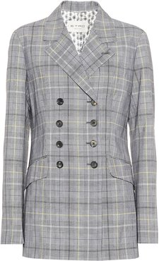 Checked wool and mohair blazer