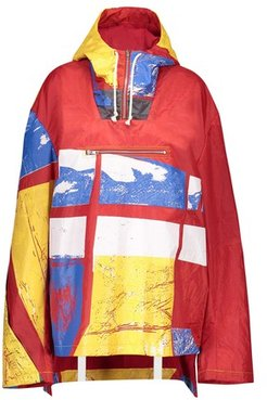 Graphic-print hooded windbreaker