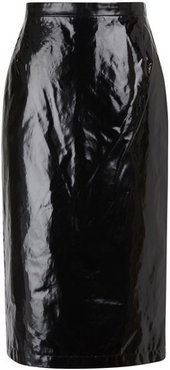 Waxed-effect midi skirt