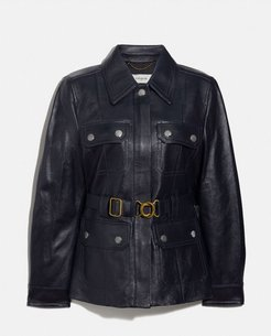 Leather Belted Heritage Jacket - Women's