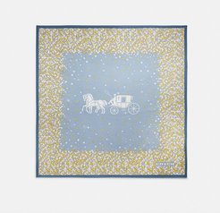 Horse And Carriage Tea Rose Print Silk Square Scarf -