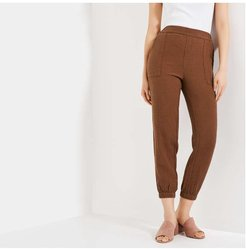 Elastic Cuff Joggers, Brown (Size M)