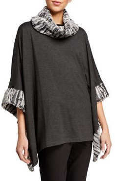 Faux-Fur Trim Square Poncho