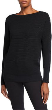 Button-Sleeve Ribbed Pullover