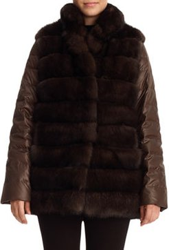 Two-Piece Sable Fur Reversible Vest with Down Jacket