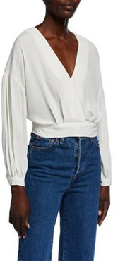 Jaise Wrap Cropped Back-Tie Top