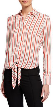 Striped Long-Sleeve Tie-Front Blouse