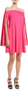 Mami Off-the-Shoulder Cape-Sleeve Cocktail Dress