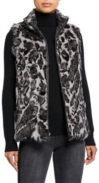Reversible Nylon Rabbit Fur Vest
