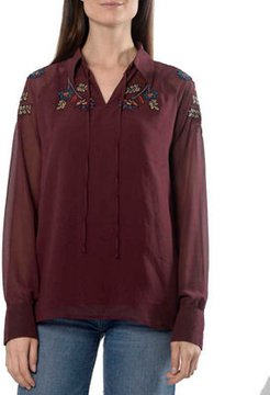 Sheer-Sleeve Blouse with Beading