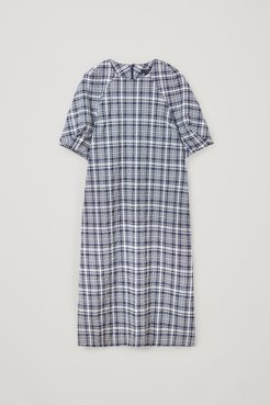 COTTON CHECKED LONG SEERSUCKER DRESS