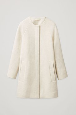 COLLARLESS A-LINE WOOL COAT