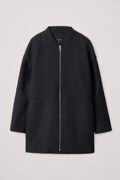 BOILED WOOL COAT WITH BOMBER COLLAR