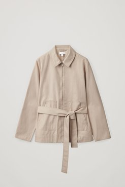 BELTED A-LINE COTTON JACKET