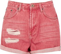 Bandit red distressed denim shorts