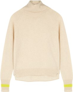 Cream fine-knit cashmere jumper