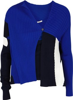 Panelled ribbed wool-blend cardigan