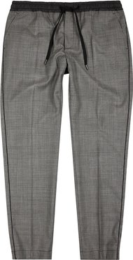 Houndstooth wool-blend trousers