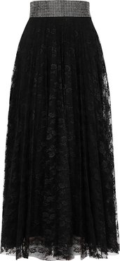 Black crystal-embellished lace midi skirt