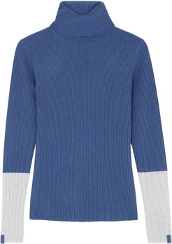 Blue roll-neck ribbed cashmere jumper