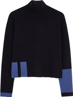 Navy ribbed cashmere jumper