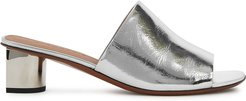 55 metallic silver leather mules