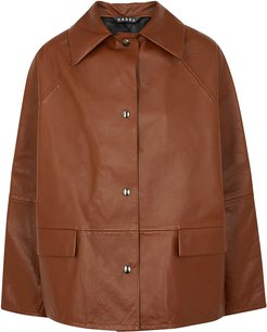 Brown reversible leather jacket