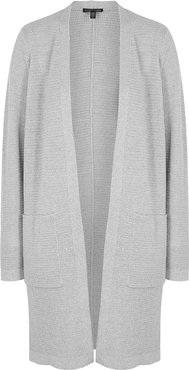 Grey metallic wool-blend cardigan