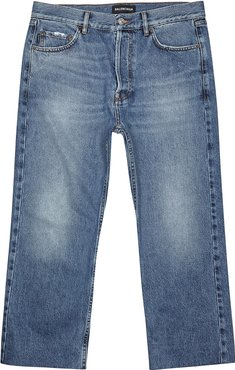 Blue cropped straight-leg jeans