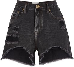 Legend black distressed denim shorts