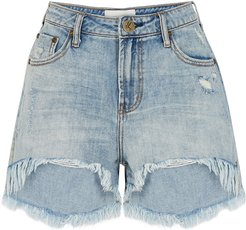 Legend light blue distressed denim shorts