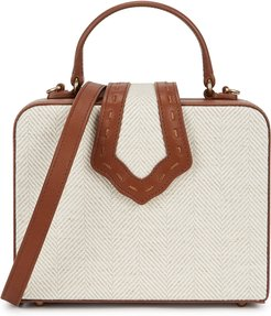 Fey mini linen and leather top handle bag