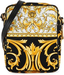 Baroque-print canvas cross-body bag