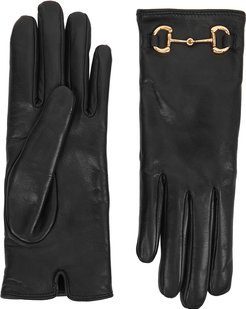 Black cashmere-lined leather gloves