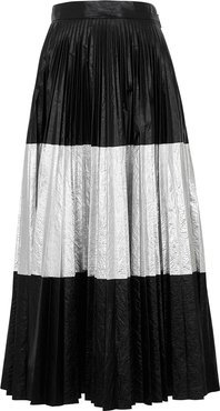 Black and silver plissé midi skirt