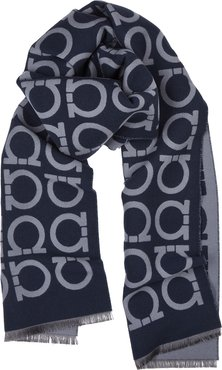 Issac navy wool-blend scarf