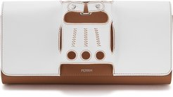 Le Cabriolet white and brown leather clutch