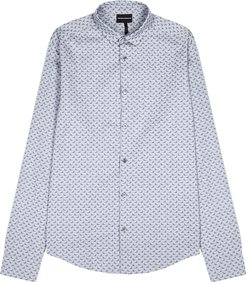 Grey printed cotton shirt