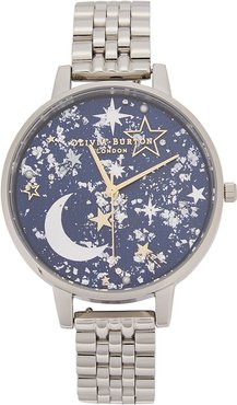 Celestial embellished silver-tone watch