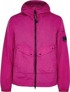 Bright pink hooded shell jacket