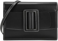 Buckle Big Stitch black leather cross-body bag