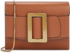 Buckle brown leather cross-body bag