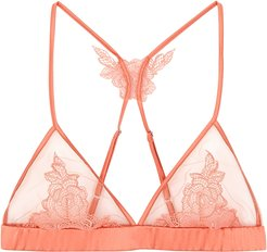 Penelope peach lace-trimmed soft-cup bra