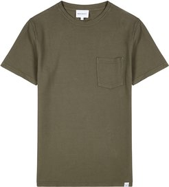 Niels army green knitted cotton T-shirt