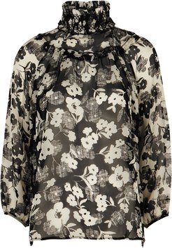 Deception Floral-print Silk-chiffon Blouse