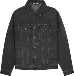 Black logo-print denim jacket