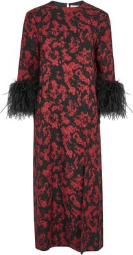 Billie printed feather-trimmed midi dress